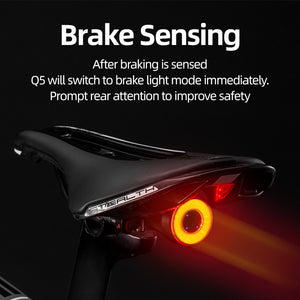 ROCKBROS Bicycle Smart Auto Brake Sensing Light IPx6 Waterproof LED Charging Cycling Taillight Bike Rear Light Accessories Q5