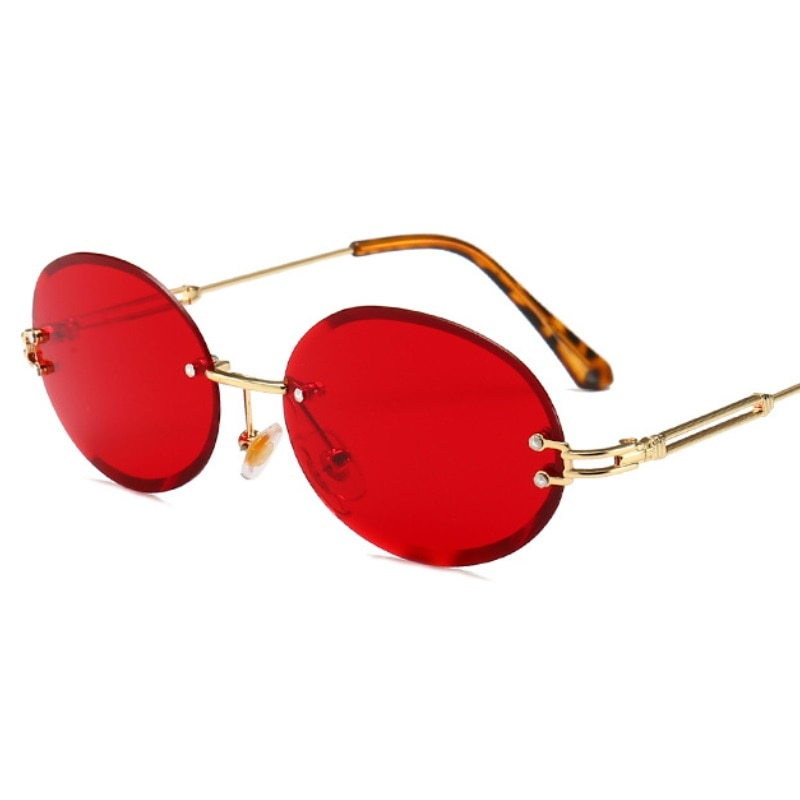 Luxury Rimless Steampunk Men Sunglasses Fashion Oval Designer Women Sun Glasses Punk New Designer Shades