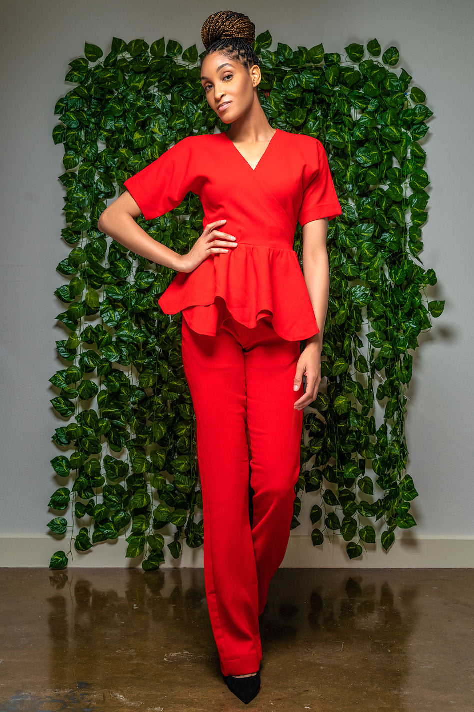 Tall Red Textured High Waisted Pants Set (Top included)