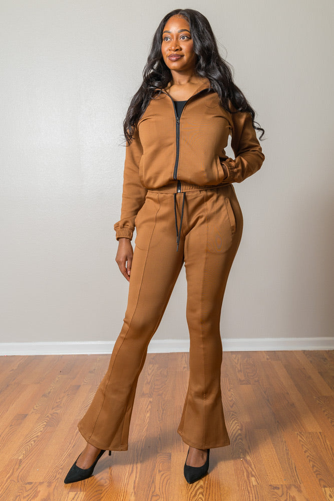 "Tan Tracksuits (Jacket included) 35"" inseam"