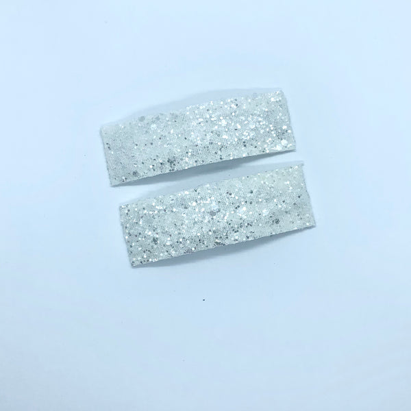 White Sparkle - Faux Leather Snap Clips | Size Large