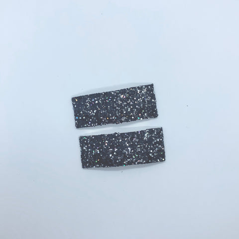 Black Sparkle - Faux Leather Snap Clips | Size Small