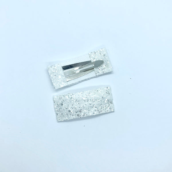 White Sparkle - Faux Leather Snap Clips | Size Small