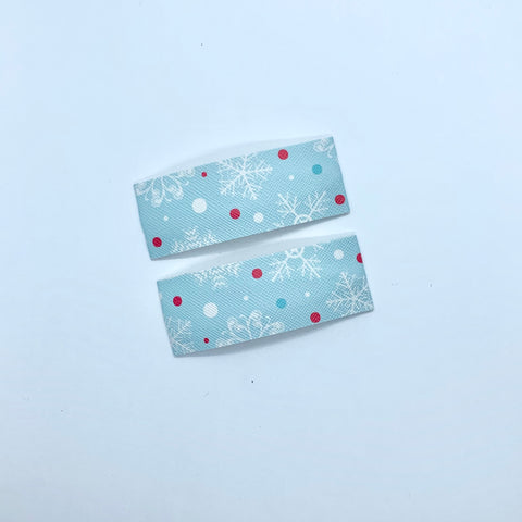Snowflake Print | Faux Leather Snap Clips