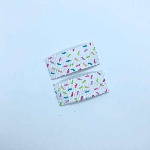 White Sprinkle Print - Faux Leather Snap Clips | Size Small
