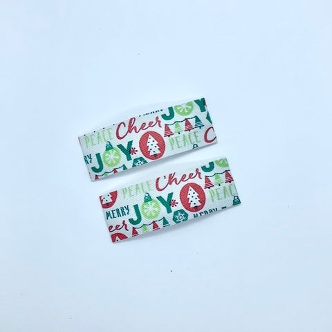Christmas and Joy Print | Faux Leather Snap Clips