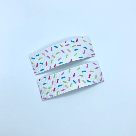White Sprinkle - Faux Leather Snap Clips | Size Large