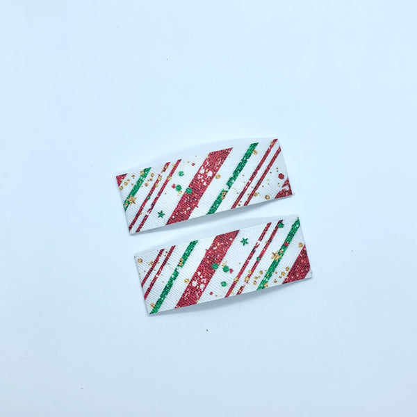 Christmas Stripes Print | Faux Leather Snap Clips