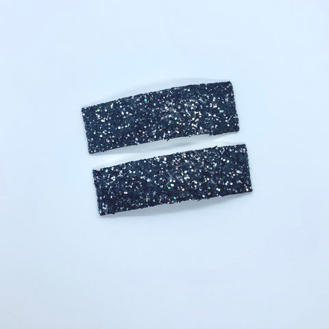 Black Sparkle - Faux Leather Snap Clips | Size Large