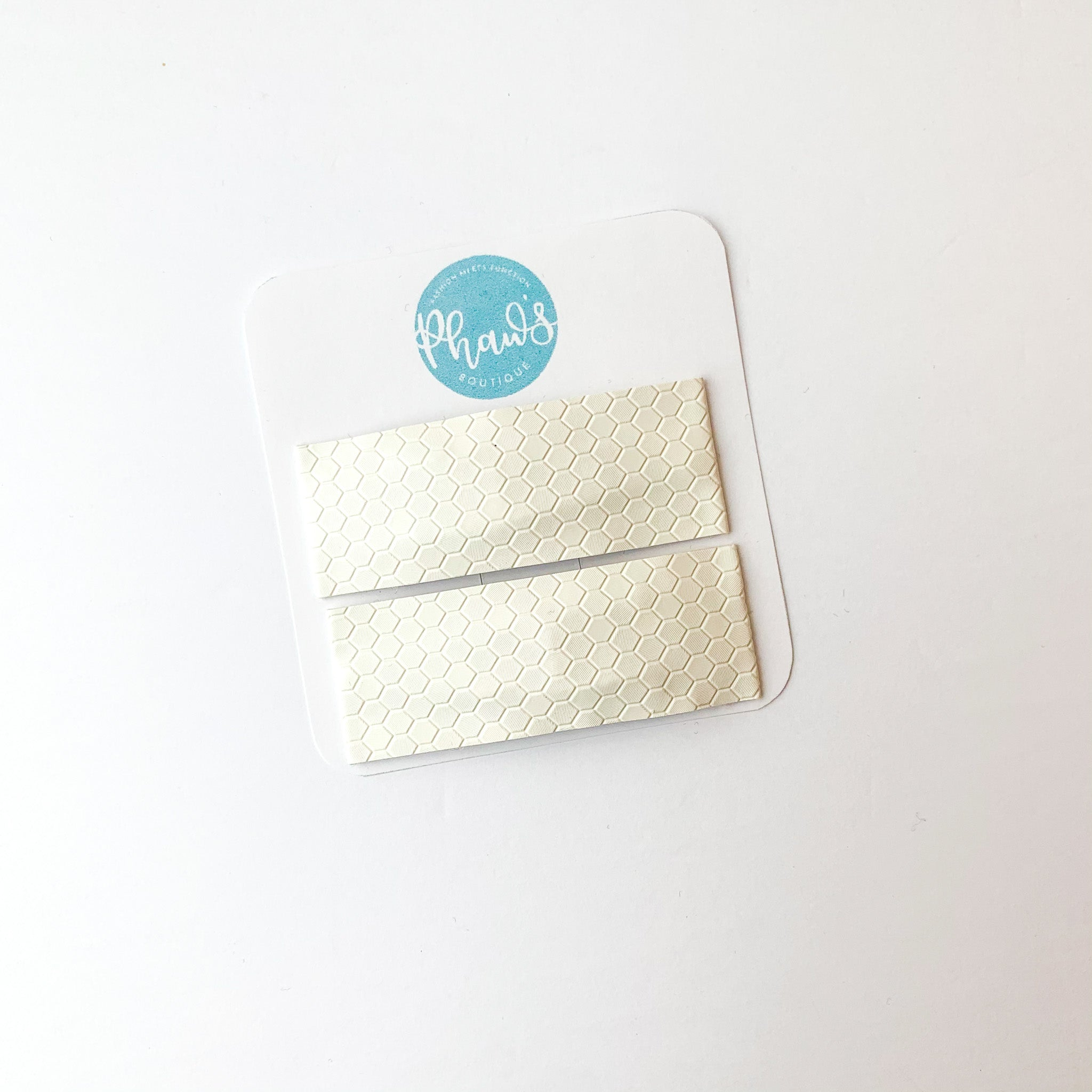 White Hexagon | Faux Leather Snap Clips