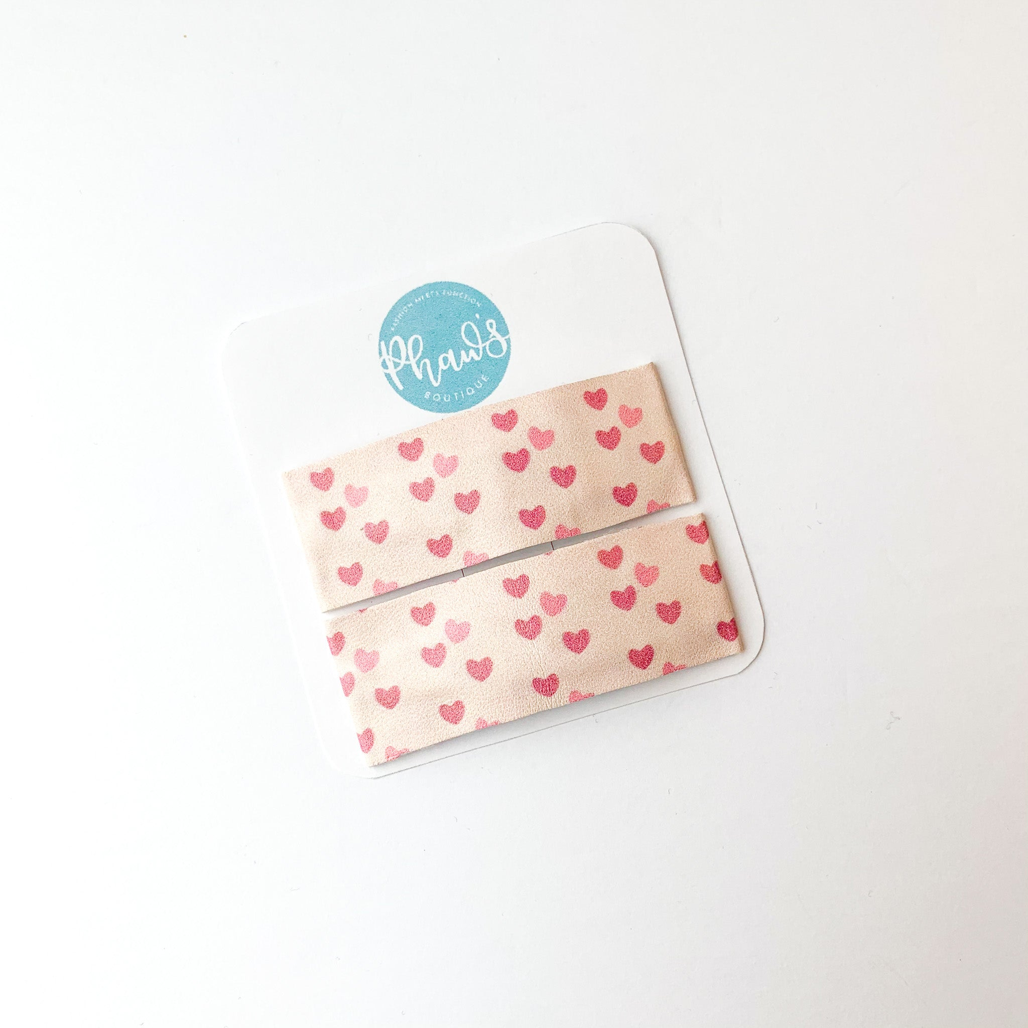 Small Pink & Red Hearts | Faux Leather Snap Clips