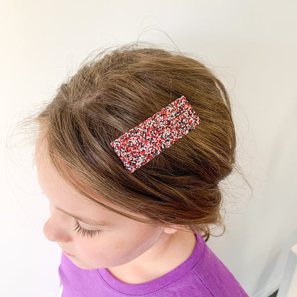 Red and Black Sparkle | Faux Leather Snap Clips
