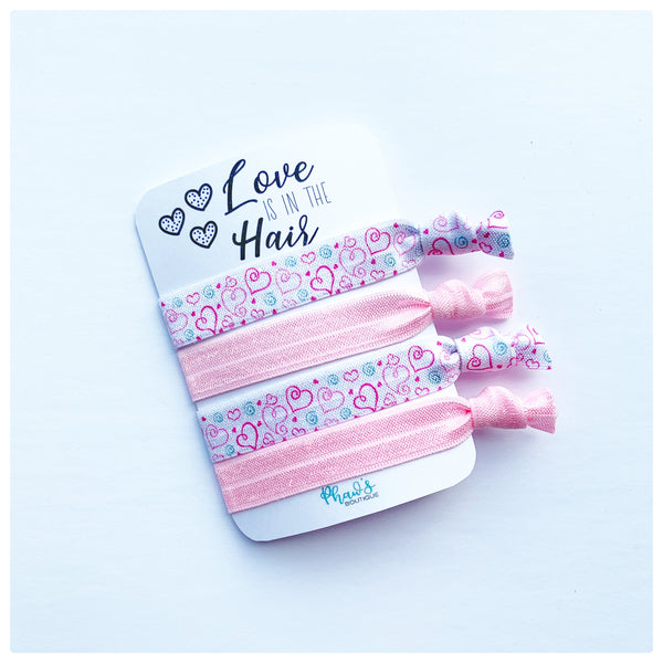 Love is in the Hair | Fun Motivational Cards Hair Tie Set