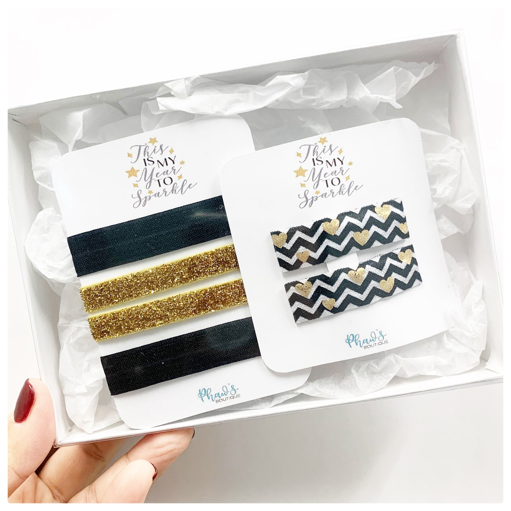 New Years Ready - Hair Tie and Snap Clips - Box Set