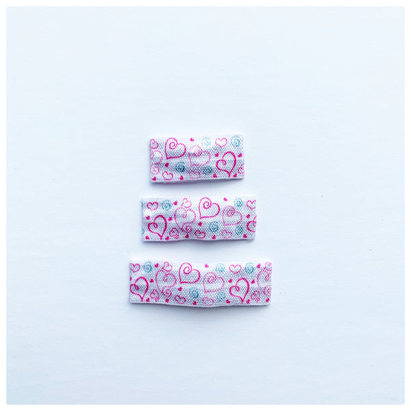 Pink Hearts Pattern Snap Clips | Size Large