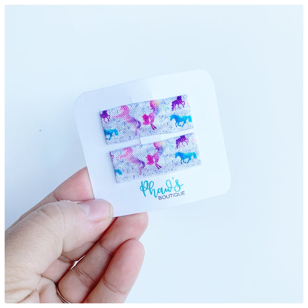 Unicorn Pattern Snap Clips - Size Large