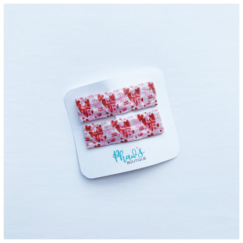Red Love Heart Pattern Snap Clips | Size Large