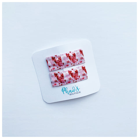 Red Love Heart Pattern Snap Clips | Size Medium