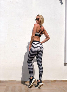 Cross Stripe Printed Leggings