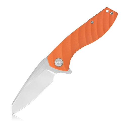 "KB075 Liner Lock Folding Knife 3.4""D2 Blade/G10 Handle (Orange)"