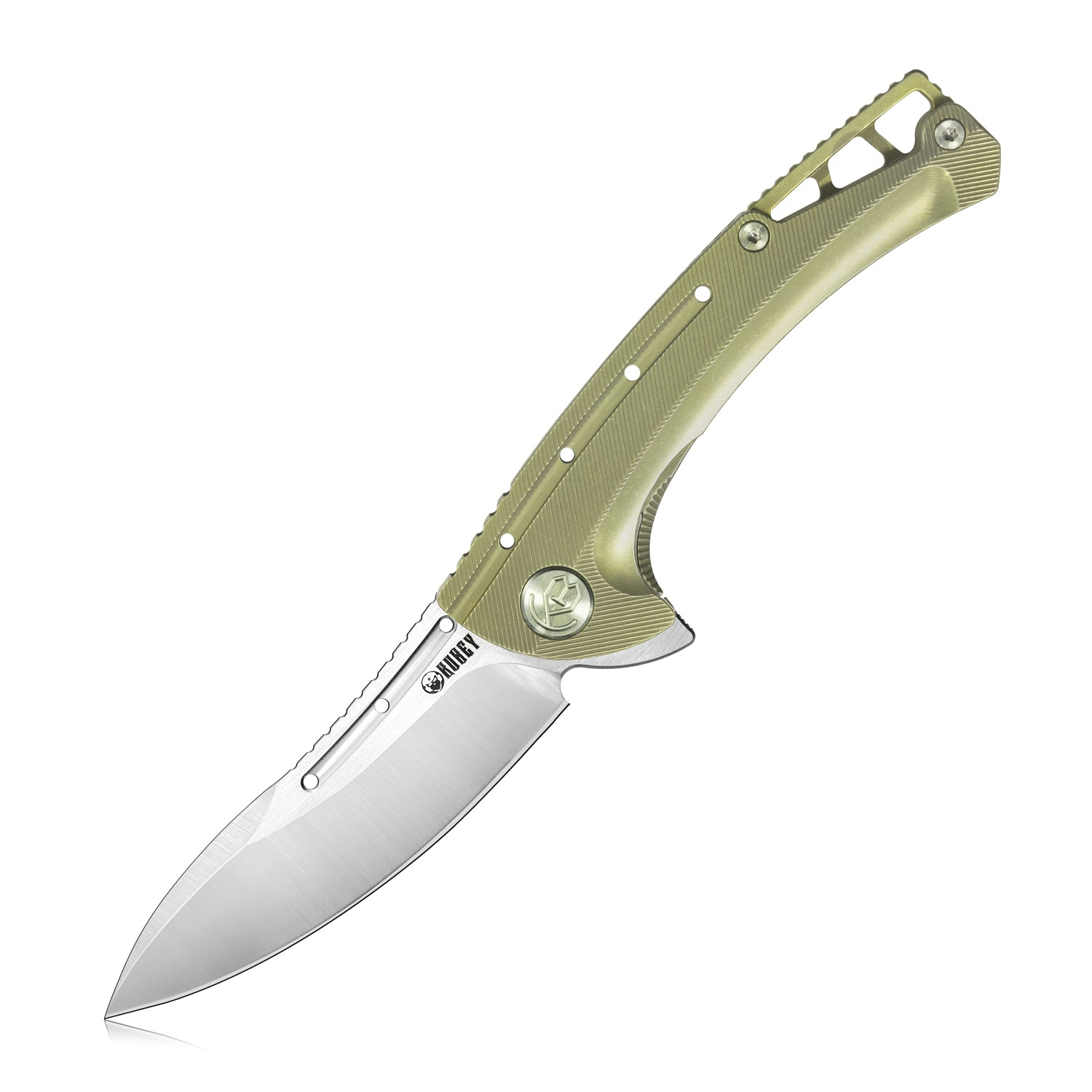 "Tarzan Frame Lock Flipper Knife Ti Handle  (3.5"" Sandblast AUS-10)KB254A"