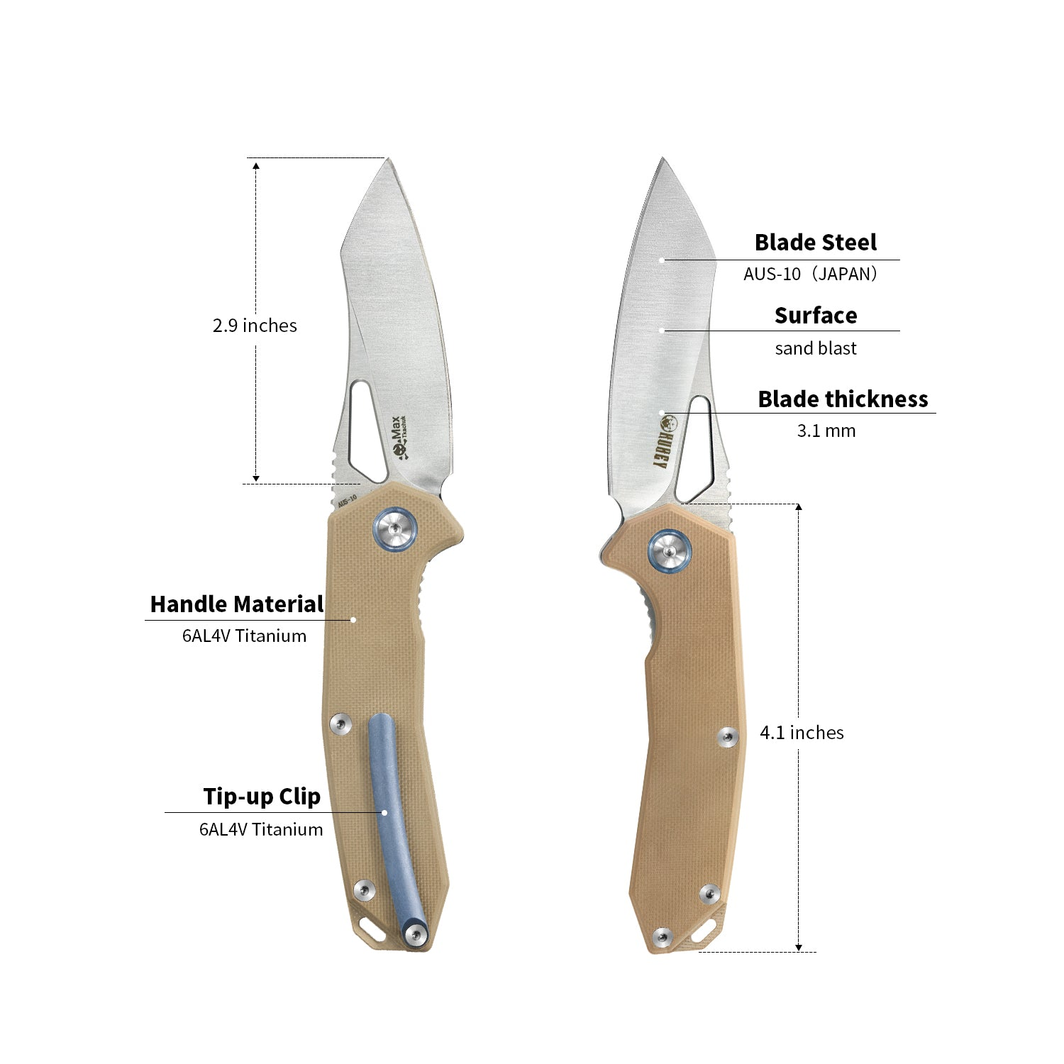 "Vagrant Liner Lock Folding Knife Tan G10  Handle (2.9"" Satin AUS-10) KU291B"