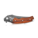 KUBEY DM148 Folding Pocket Knife Damascus Steel Blade and Wood Handle with Lanyard