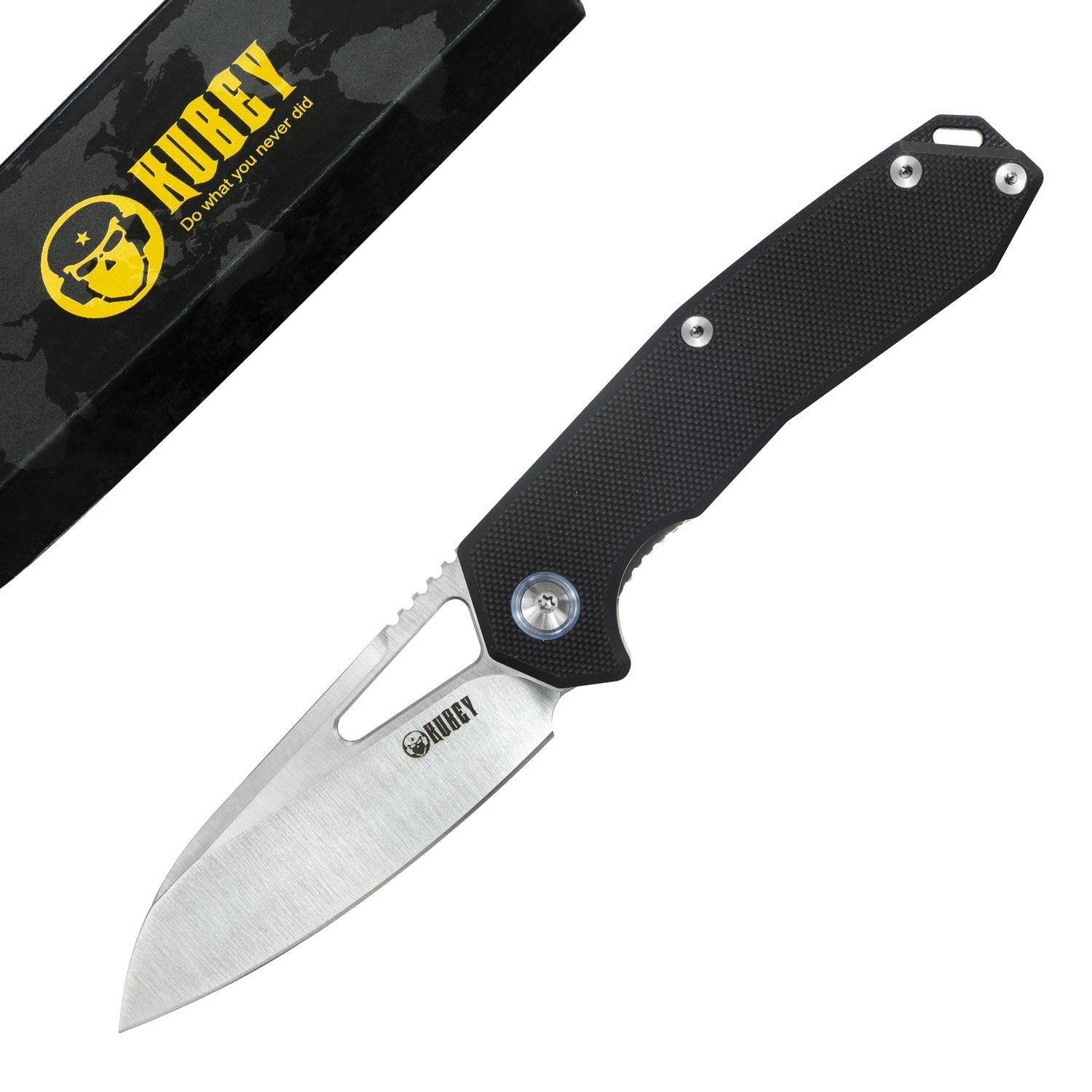 "Vagrant Liner Lock Folding Knife Black G10  Handle (2.9"" Satin AUS-10) KU291A"