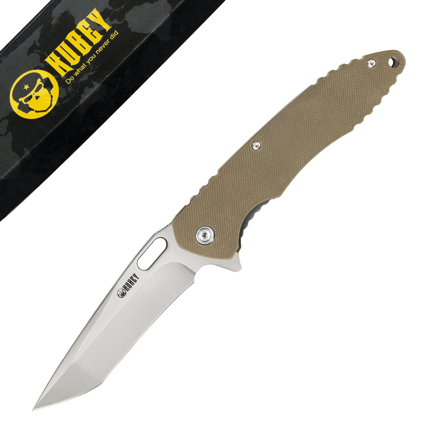 "Darkness Liner Lock Flipper Knife Tan G10 Handle (3.7"" Sandblast AUS-10 ) KU003C"