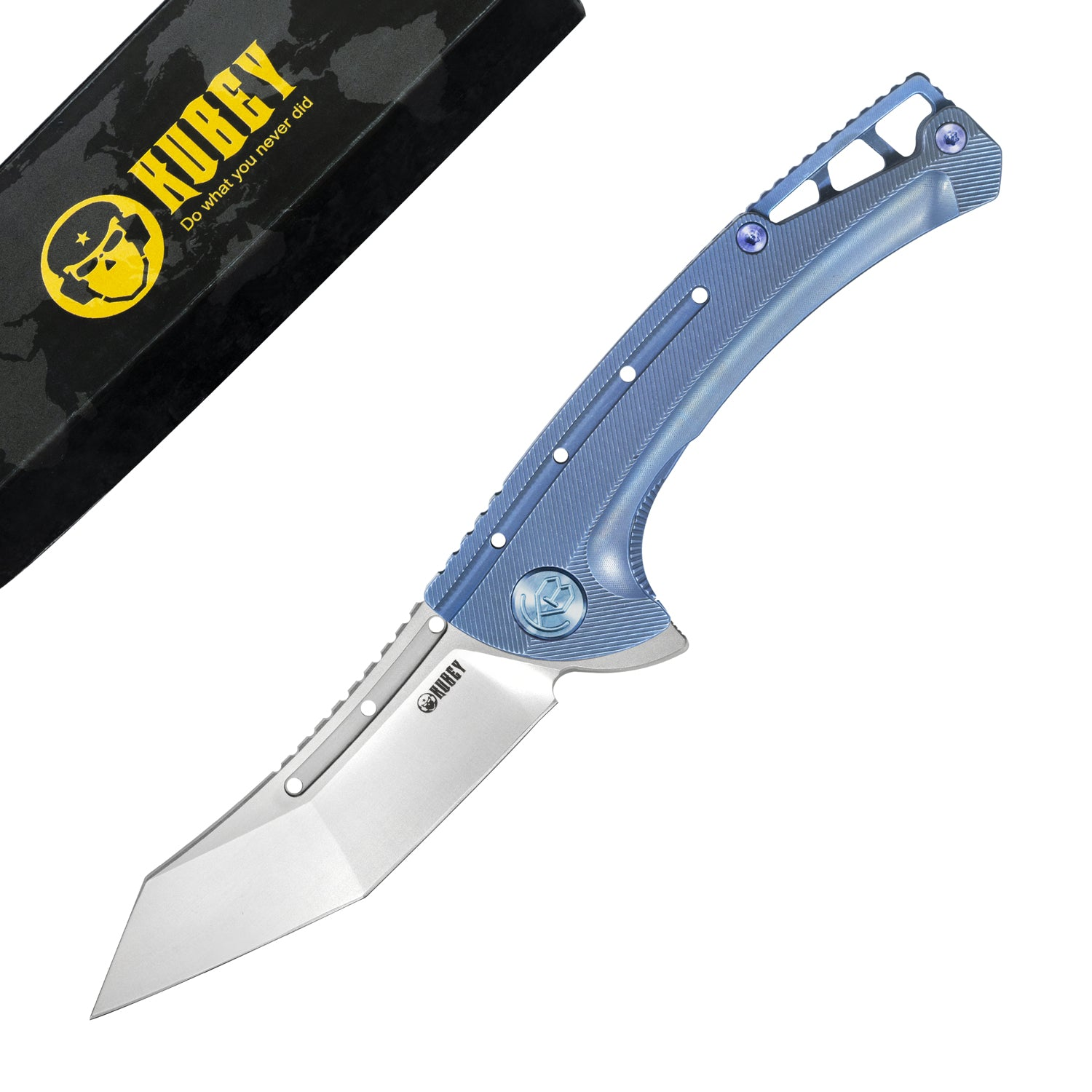"Kabor Frame Lock Folding Knife Blue Ti Handle (3.5"" Satin AUS-10)KB255B"