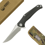 "Cayman Frame Lock Flipper Knife  TI/CF Handle (3.7"" Satin S35VN) KB202A"