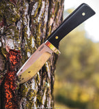"KUBEY KU160 9.4"" Full Tang Fixed Blade Knife  4.7"" Drop Point D2 Blade African Blackwood Handle"