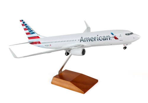 SKR8244 SKYMARKS SUPREME AMERICAN 737-800 1/100 NEW LIVERY W/WOOD STAND&GEAR - SkyMarks Models