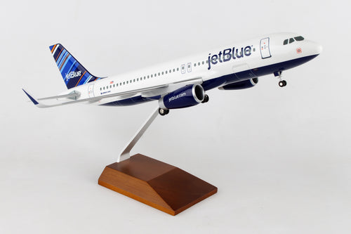 SKR8333  SKYMARKS JETBLUE A320 BARCODE 1/100 W/WOOD STAND & GEAR - SkyMarks Models