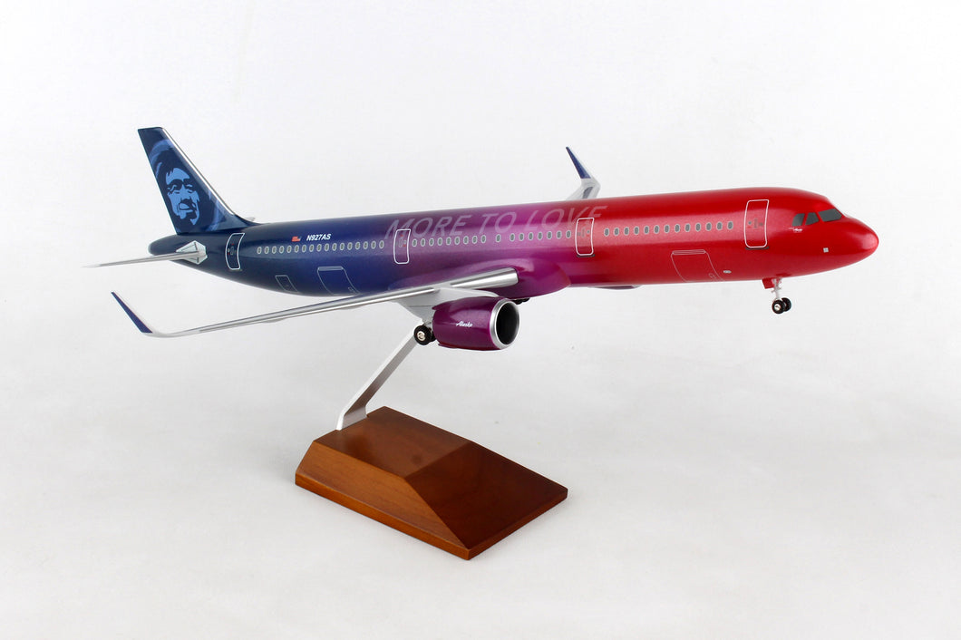 SKR8413 SKYMARKS ALASKA A321neo 1/100 MORE TO LOVE W/WOOD STAND & GEAR - SkyMarks Models