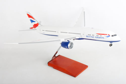 SKR9000 SKYMARKS BRITISH 787-9 1/100 W/WOOD STAND & GEAR