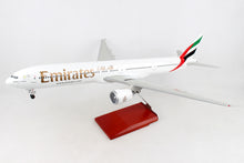 Load image into Gallery viewer, SKR9402 SKYMARKS EMIRATES 777-300ER EXPO 1/100 W/WOOD STAND & GEAR - SkyMarks Models