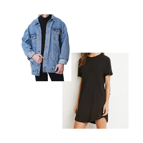 T-shirt dress and jean jacket