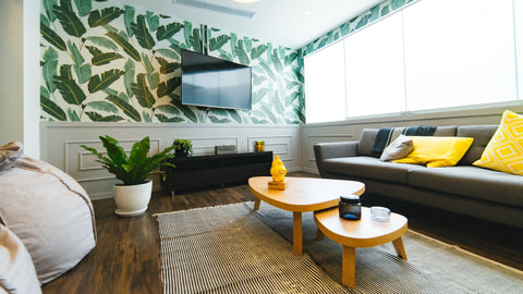 greenery wallpaper inside a lounge as an interior design trend 2017
