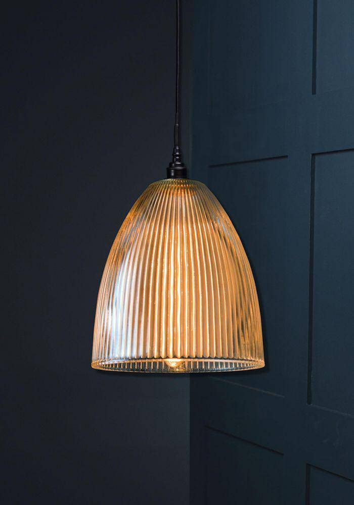 IP44 PRISMATIC RIBBED GLASS BATHROOM PENDANT LIGHT - The Light Yard