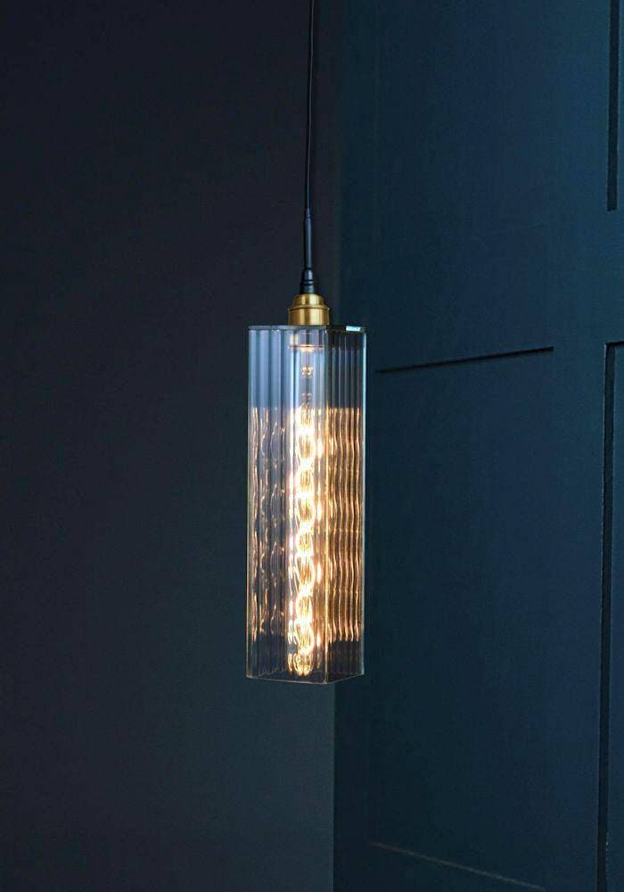 IP44 RIBBED GLASS BATHROOM PENDANT LIGHT - The Light Yard
