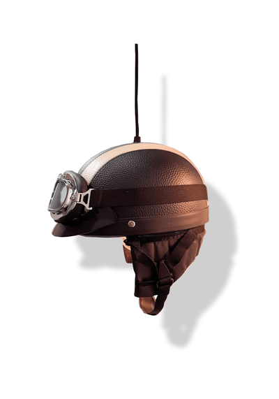 BLACK & CREAM HELMET PENDANT LIGHT - The Light Yard