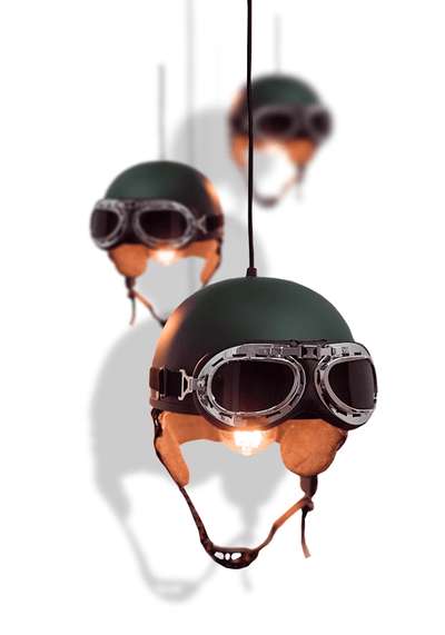 OLIVE GREEN HELMET PENDANT LIGHT - The Light Yard