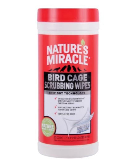 NATURES MIRACLE BIRD CAGE SCRUB WIPES