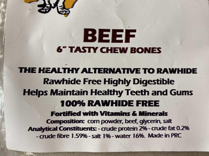 TASTY CHEW BONE BEEF 6 INCH SINGLE (NO RAWHIDE)