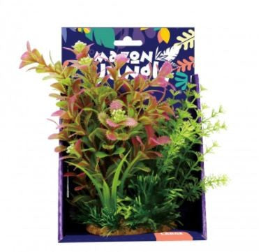 AMAZON JUNGLE MIXED LUDWIGIA PLASTIC PLANT DISPLAY 20CM