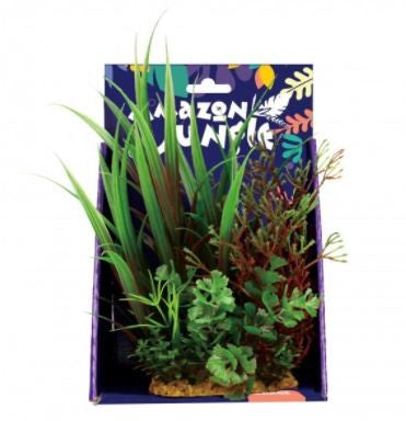 AMAZON JUNGLE MIXED VARIETY PLASTIC PLANT DISPLAY 20CM