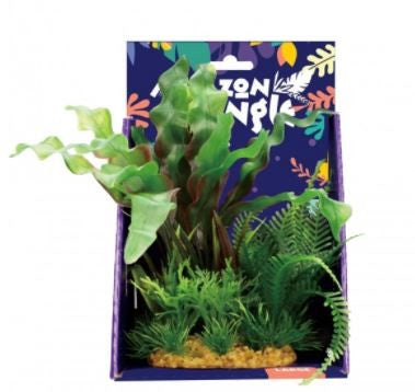 AMAZON JUNGLE MIXED APONOGETON PLASTIC PLANT 20CM