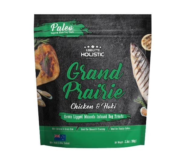 ABSOLUTE HOLISTIC AIR DRIED DOG TREAT GRAND PRAIRIE CHICKEN & HOKI