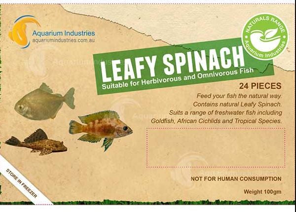 AQUARIUM INDUSTRIES LEAFY SPINACH BLISTER PACK 100G